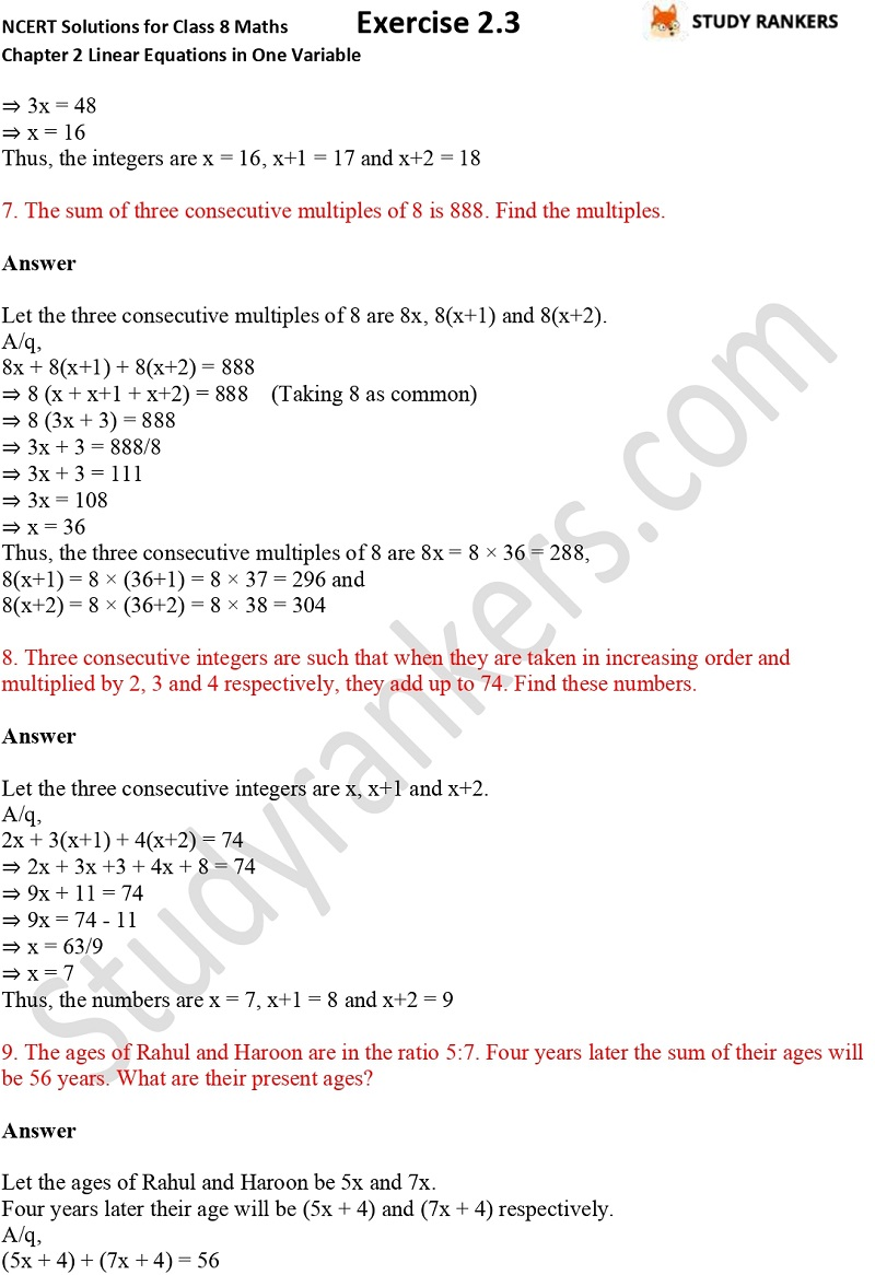 NCERT Solutions for Class 8 Maths Chapter 2 Linear Equations in One Variable Exercise 2.3 Part 3