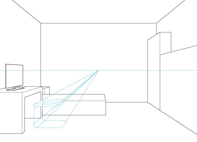 Perspektif satu titik menggambar dasar dan kursi kursi komputer