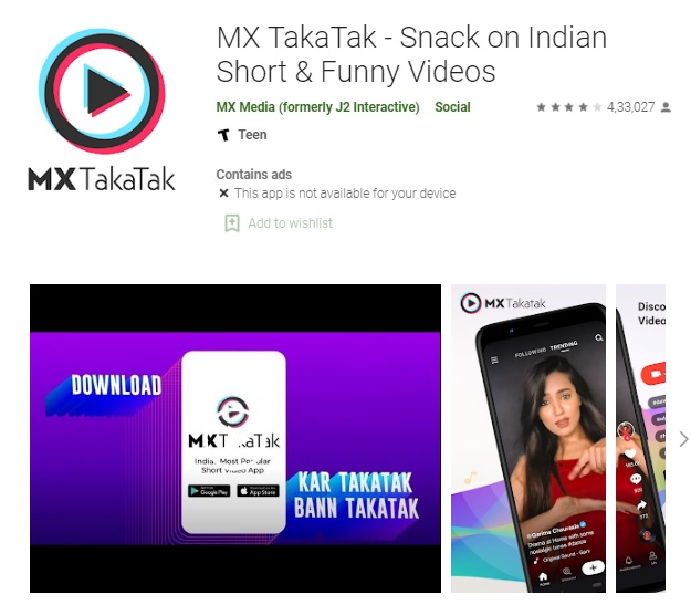 MX Takatak is a short video app that has been made locally, especially for Indians, by MX Media & Entertainment.