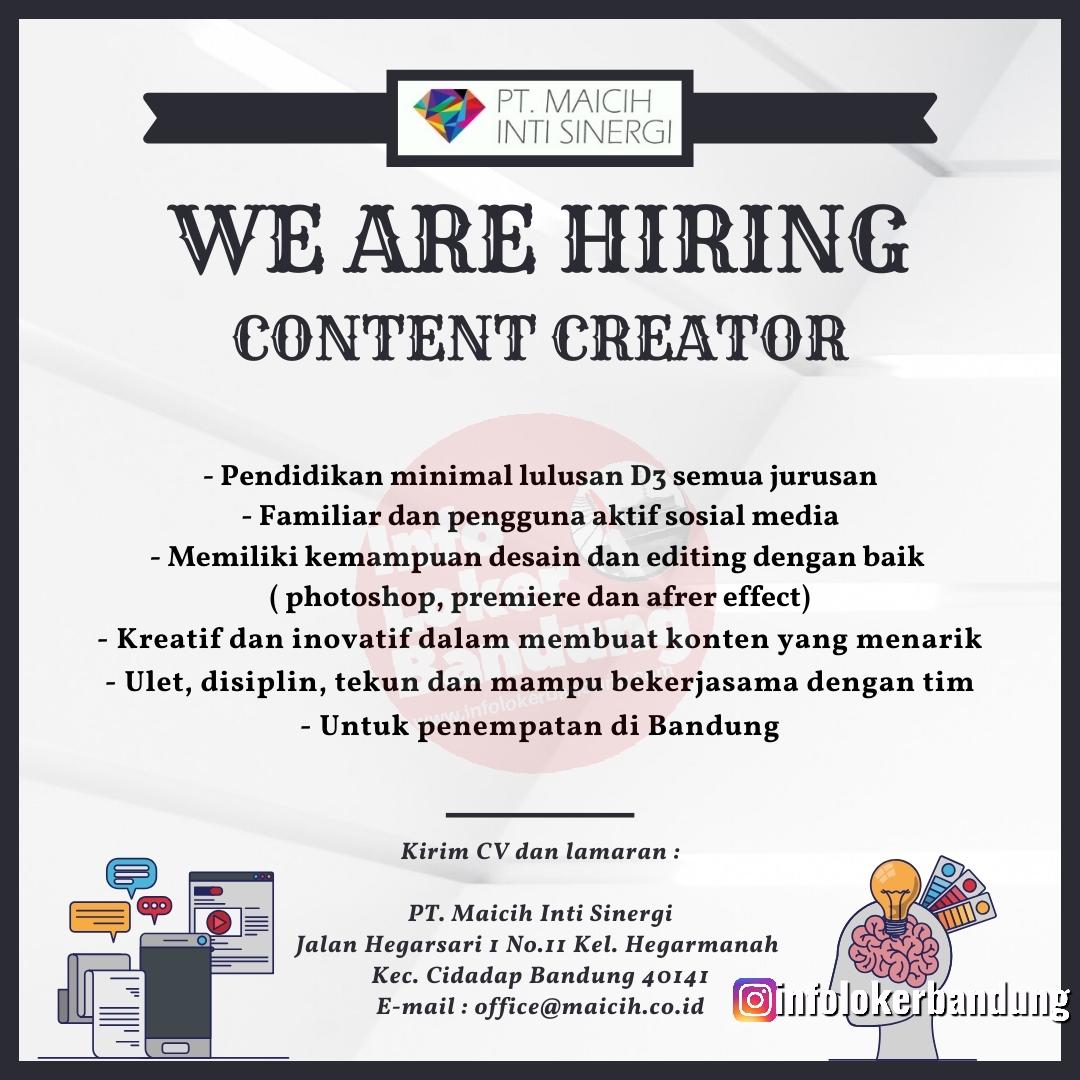 Lowongan Kerja Content Creator Bandung Januari 2020