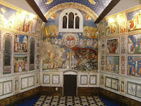 Giotto's frescoes cover the inner walls of the Scrovegni Chapel