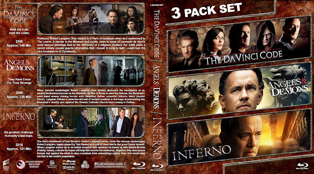 The Da Vinci Code / Angels & Demons / Inferno Collection Bluray Cover