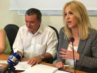 Η Περιφερειάρχης Αττικής Ρένα Δούρου στη συνέντευξη Τύπου στην Κεφαλονιά για τη δωρεά των 5 εκ. ευρώ