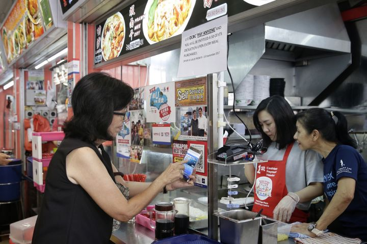 Buying hawker food with EZ-Link cards