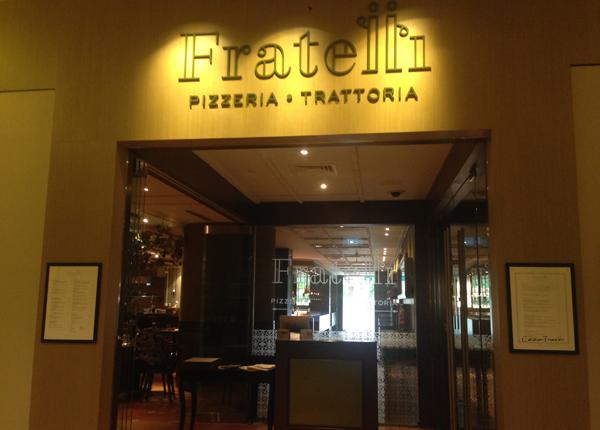 Fratelli Pizzeria Trattoria, Singapura, Kuliner