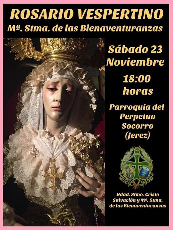 Cartel del Rosario Vespertino con Maria Santísima de las Bienaventuranzas de Jerez de la Frontera
