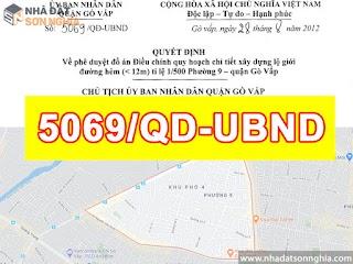 Quyết định số 5069/QĐ-UBND quy hoạch lộ giới đường hẻm tỉ lệ 1/500 phường 9 quận Gò Vấp