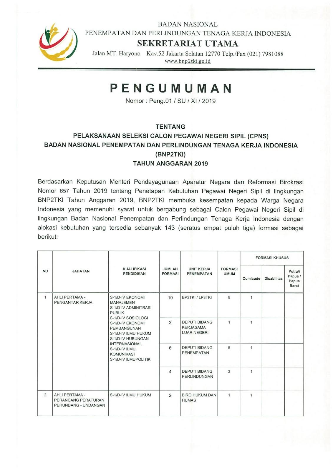 Lowongan CPNS Badan Nasional Penempatan dan Perlindungan Tenaga Kerja Indonesia Tahun 2019 [143 Formasi]