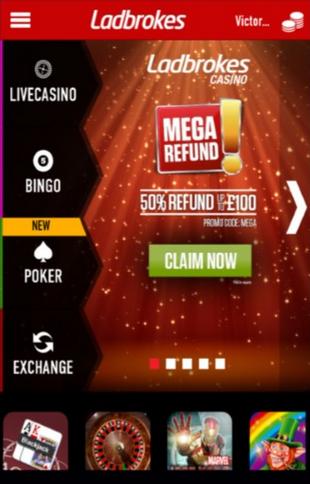 Ladbrokes Live Casino Screen