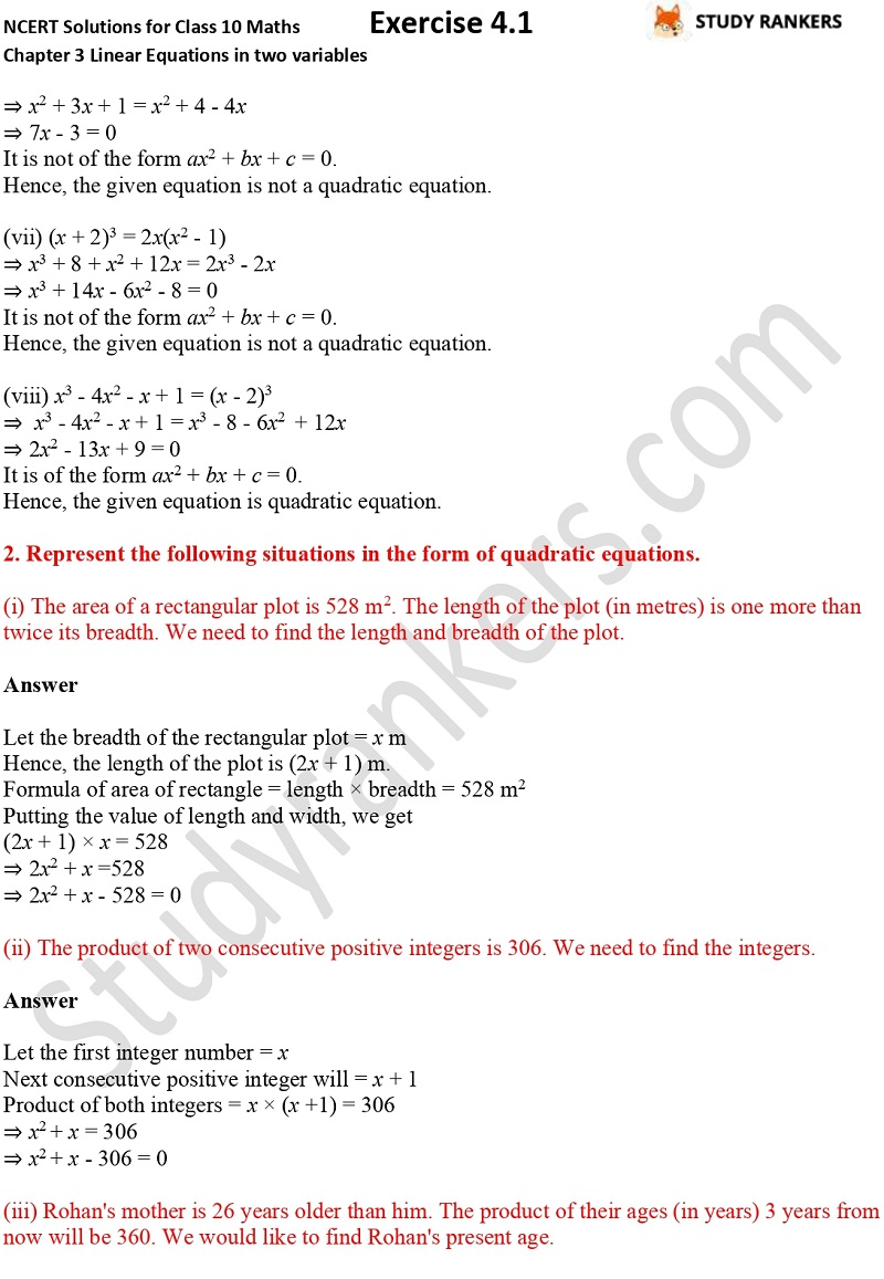 NCERT Solutions for Class 10 Maths Chapter 4 Quadratic Equations Exercise 4.1 Part 2