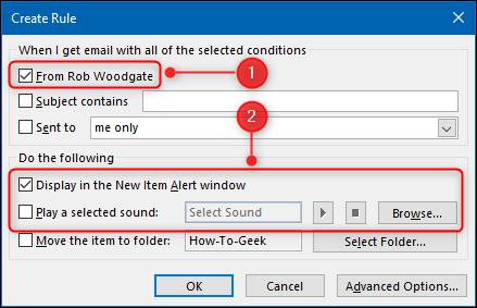 """نافذة """"إنشاء قاعدة"""" مع تمييز خيارات التنبيه."""