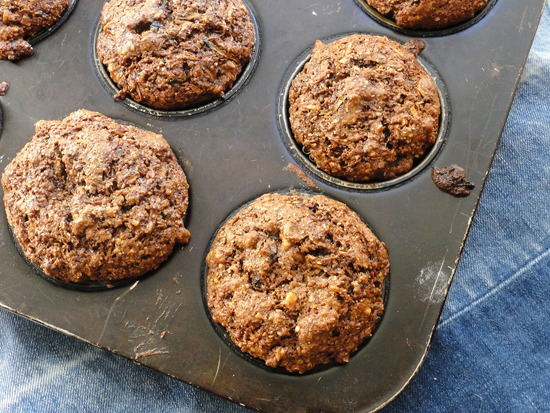 Zucchini, Hemp Seed And Walnut Bran Muffin. A Nutritious Healthy Muffin Filled With Lots Of Whole Foods
