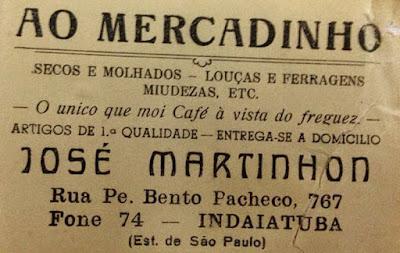 Recorte de jornal antigo sobre o mercadinho do José Martinhon em Indaituba.