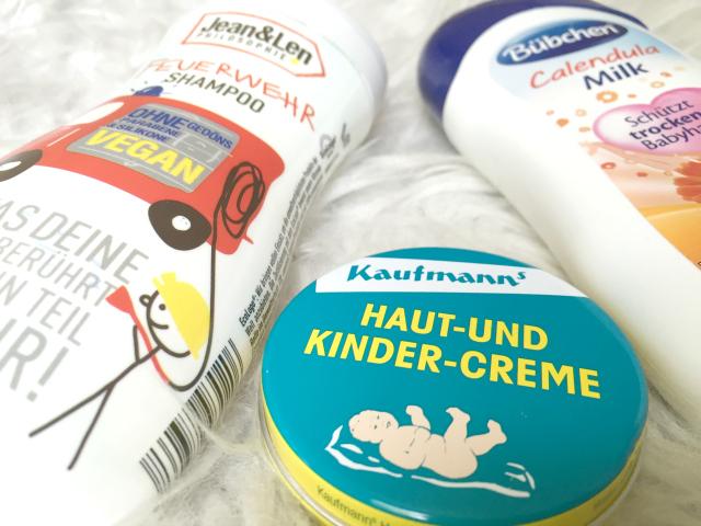Feuerwehr-Shampoo von Jean und Len, Kaufmann's Kinder-Creme und Bübchen Milk mit Calendula. Alles meins!