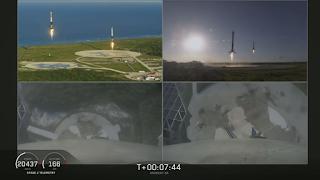 Jednoczesne pionowe lądowanie bocznych członów pierwszego stopnia - ostatnie metry nad Ziemią. Credit: SpaceX