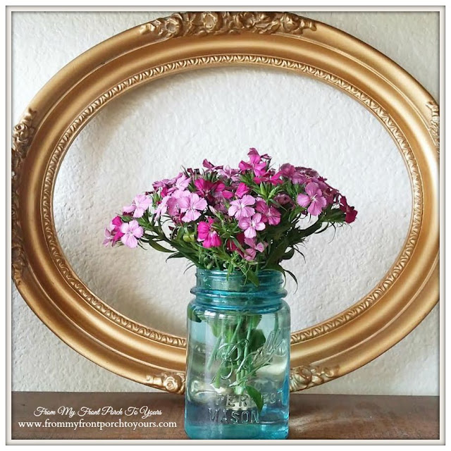 Sweet William Flowers In Blue Ball Mason Jar- From My Front Porch To Yours