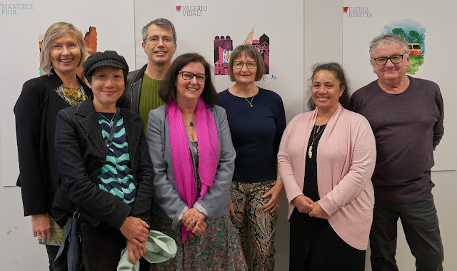 The Oratia crew with Lindsey Jones (third from right), Honorary Consul for Italy, Auckland. From left: Belinda Cooke (sales & marketing consultant), Frances Chan (editor), Peter Dowling (publisher), Alessandra Zecchini (media director), Lindsey Jones, Carolyn Lagahetau (editorial director), Ross Kinnaird (illustrator)
