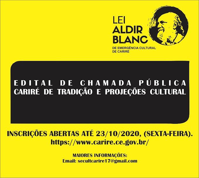 Estão abertas até 23/10 as inscrições dos editais da Lei Aldir Blanc de Emergência Cultural na Secretaria da Cultura de Cariré