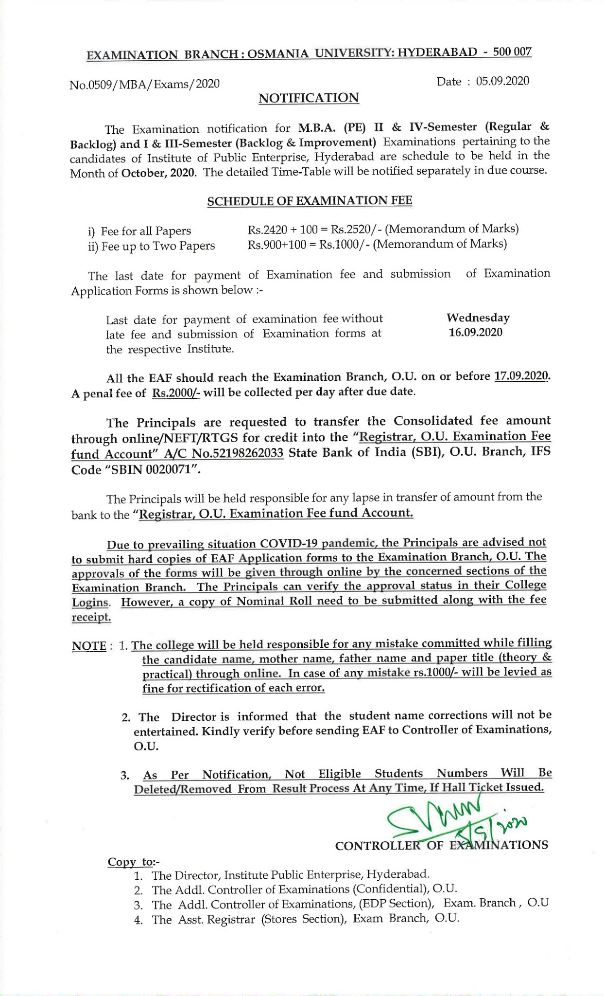 Osmania University MBA (PE) 1st To 4th Sem Oct 2020 Exam Fee Notification