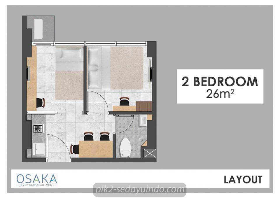 Tipe 2BR Apartemen Osaka PIK 2