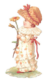 girl holding flower digital clipart