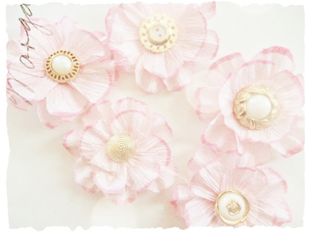 Pink Crepe Paper Flowers with Vintage Button Centers by Dana Tatar