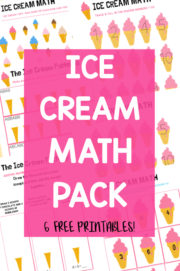 MATH ICE CREAM PRINTABLES