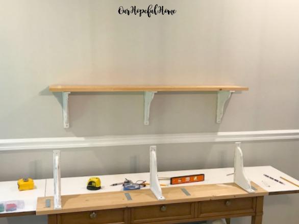buffet DIY shelves corbels levels