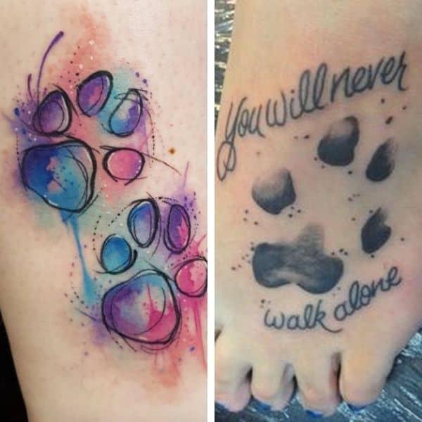 Fotografía del tatuaje de la huella de un perrito