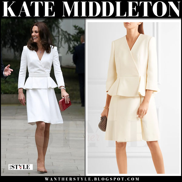 Kate Middleton in white peplum coat alexander mcqueen warsaw poland july 2017 royal tour outfits