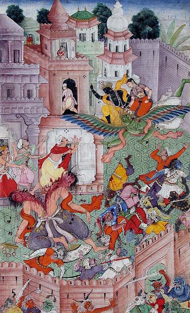Krishna Cleaves the Danava Narakasura with his Discus