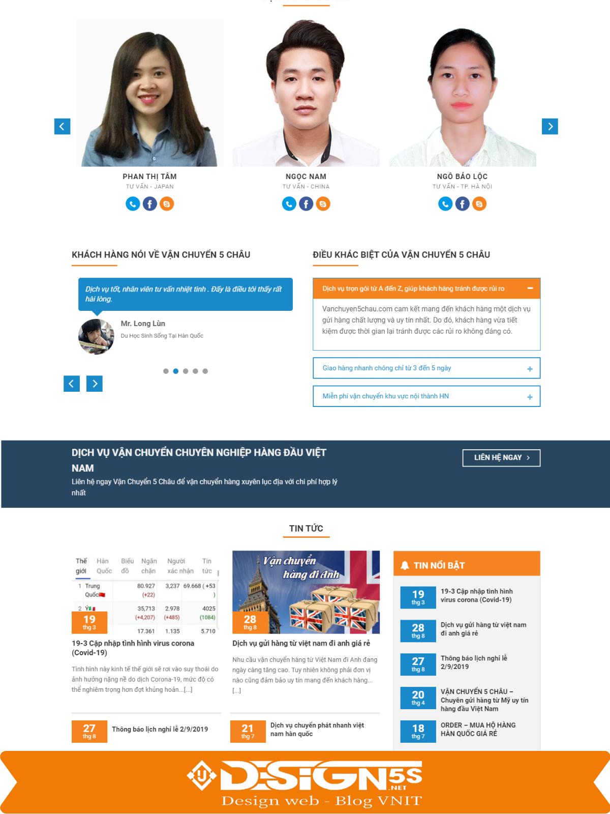 Mẫu Website công ty chuyển phát nhanh , vận chuyển 5 châu - Ảnh 2