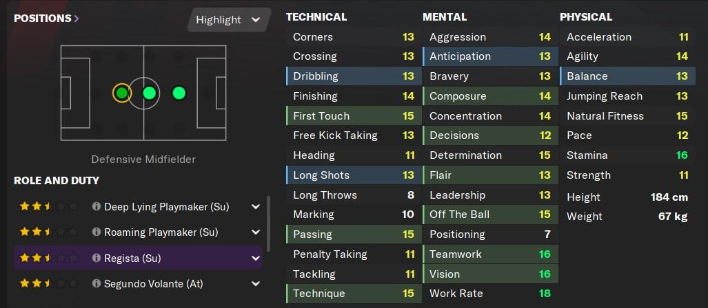 Regista Attributes in Football Manager