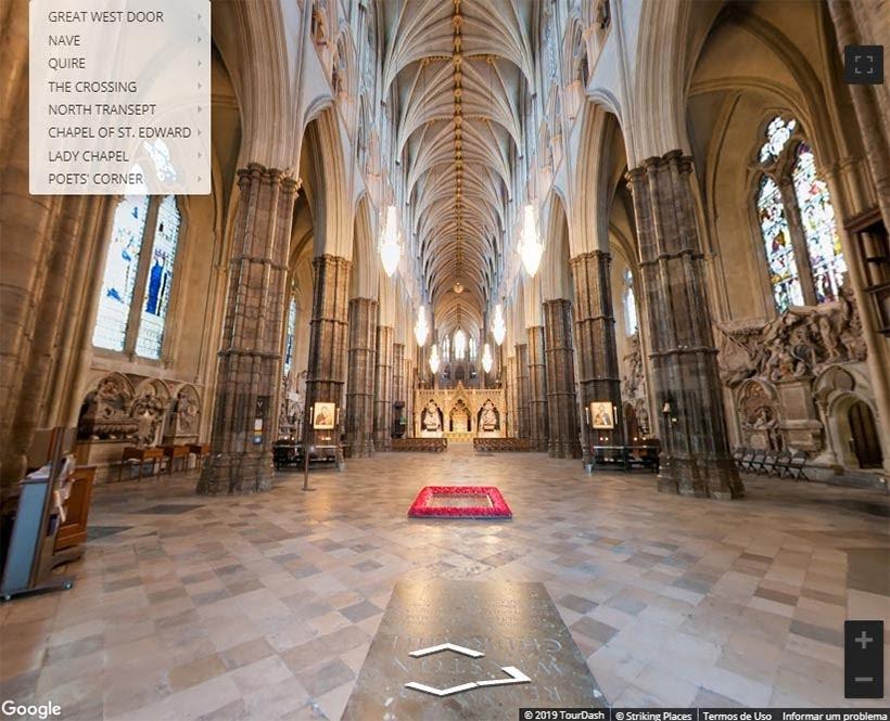 Interior da Abadia de Westminster. Foto: reprodução do tour virtual no site da Abadia