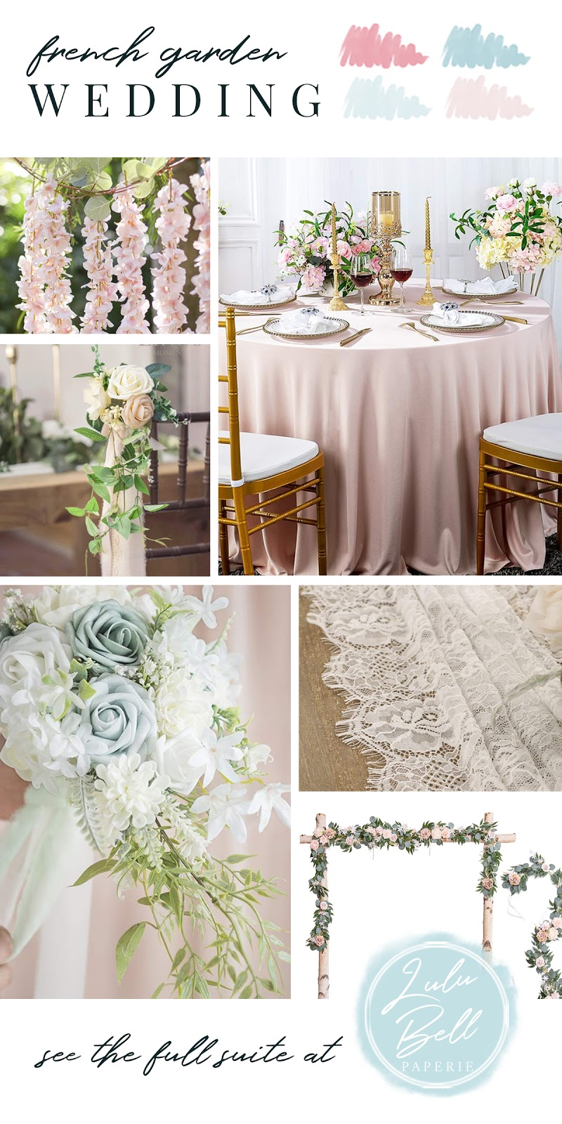 French Garden Floral Wedding Suite Floral Bouquets, Reception Decor, Table Setting Linens, and Floral Garlands and Swags