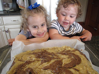 My girls with Gluten-Free Banana Chocolate Swirl Bars