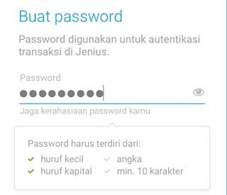 Password Aplikasi Jenius