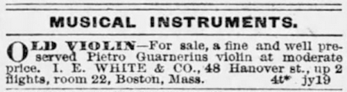 1887 Classified Ad from The Boston Globe