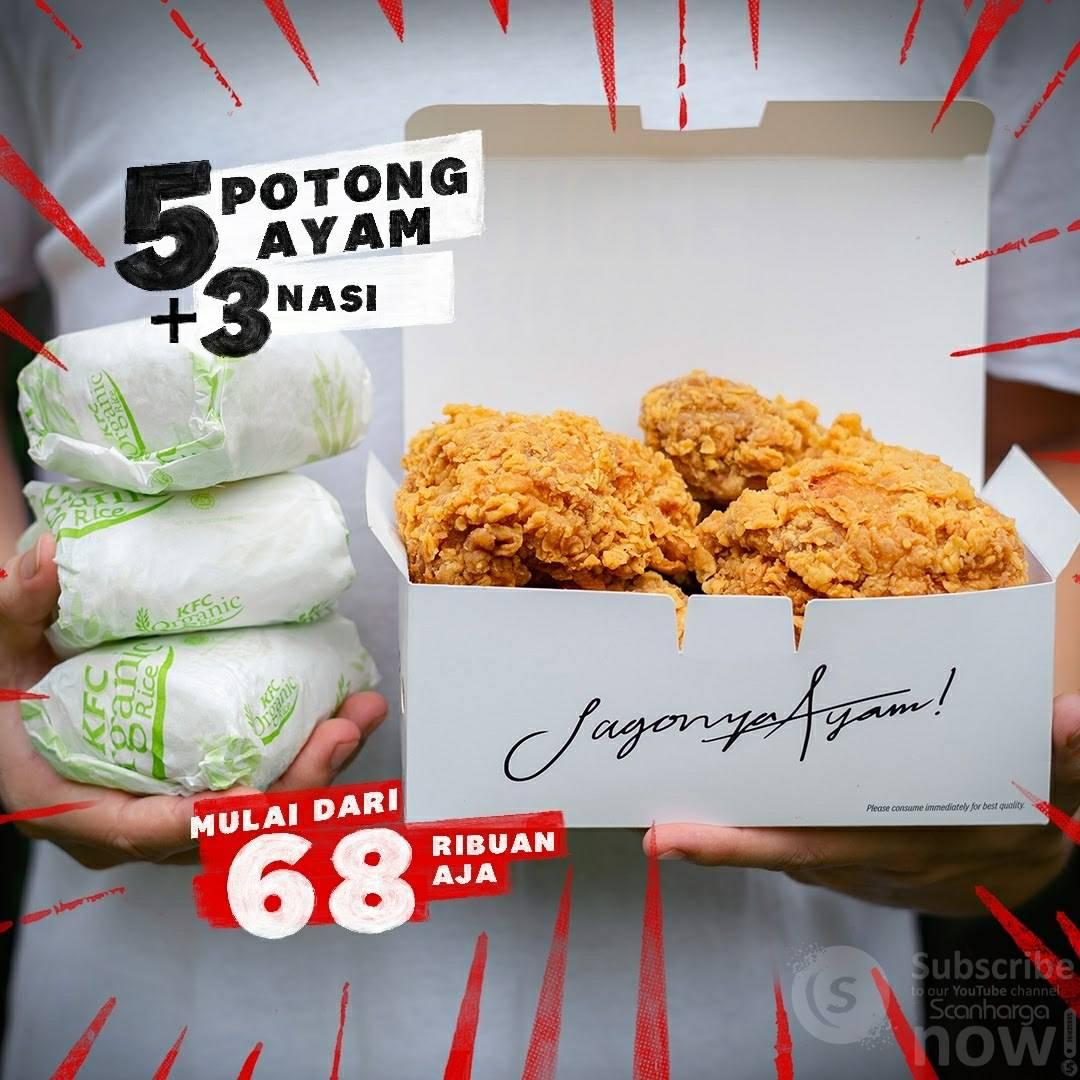 Promo KFC Beli Paket 5 potong ayam + 3 nasi harga mulai Rp. 68.182