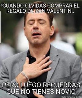 Meme San Valentín cuando recuerdas que no tienes novio