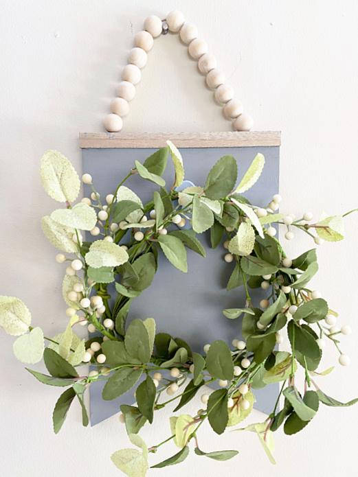 wreath hanger with spring wreath