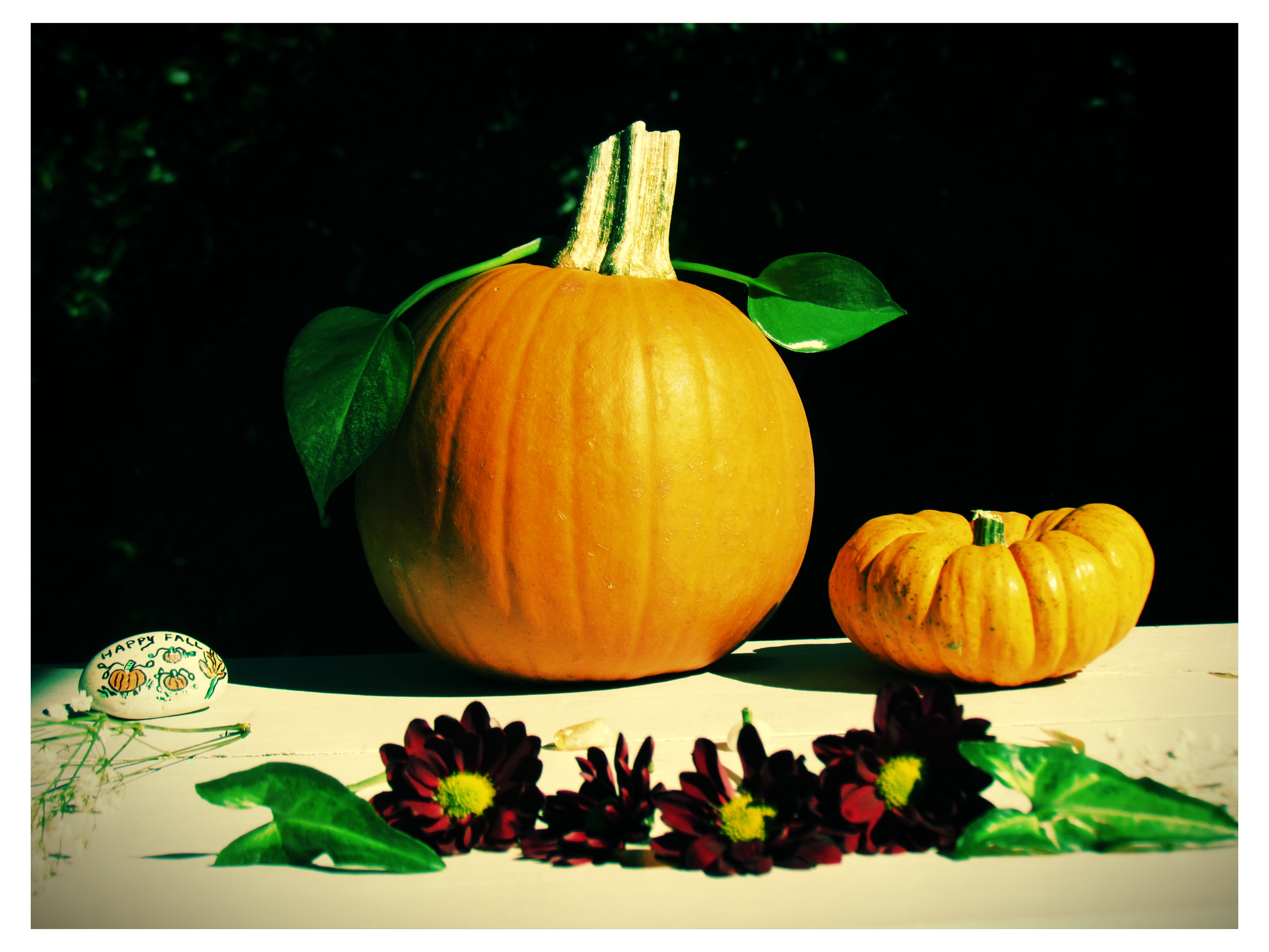 A Fall Harvest Shabby White Chic Pumpkin Style Dining Table Set