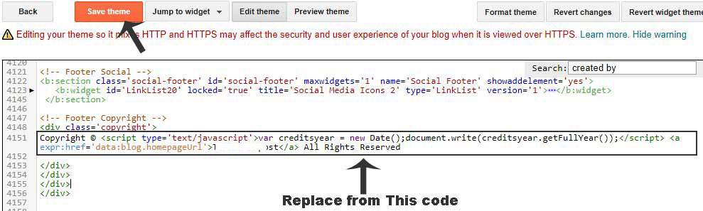 bina redirect ke blogger se footer credit link kaise remove kare
