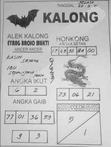 Syair kalong hk 25 juli 2021