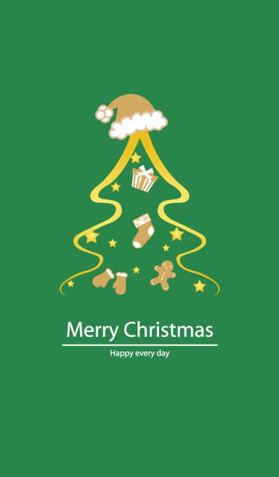 繽紛金色綠色聖誕樹