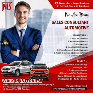 Lowongan Kerja PT Nusantara Jaya Sentosa Bandung Terbaru 2020 Dealer Mobil Suzuki
