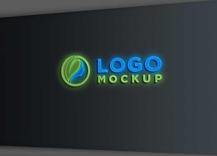 Sign Wall Light Effect Logo Mockup