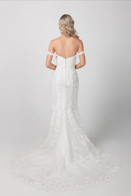 Michelle Roth Beaded Floral Fit and Flare Bridal Dress back design
