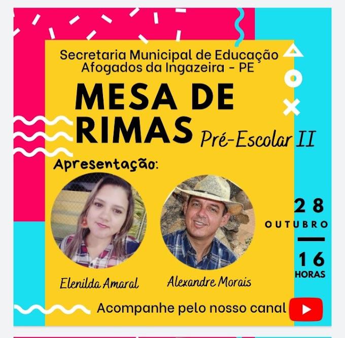 PREFEITURA DE AFOGADOS PROMOVE HOJE (28/10)  MESA DE RIMAS COM CRIANÇAS