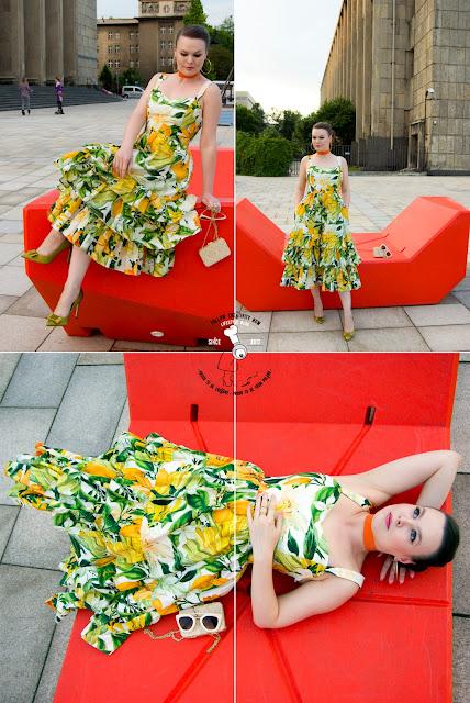 look of the day stylizacja lato 2017 sukienka h&m owoce w cytryny